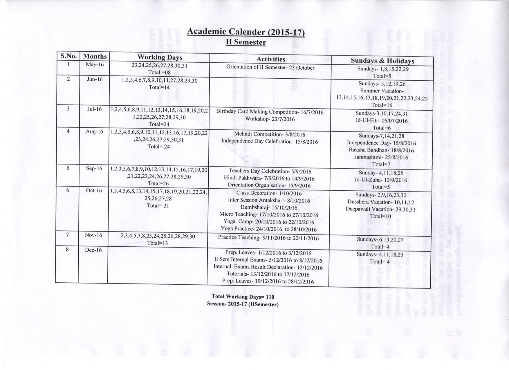 Academic Calendar II sem064